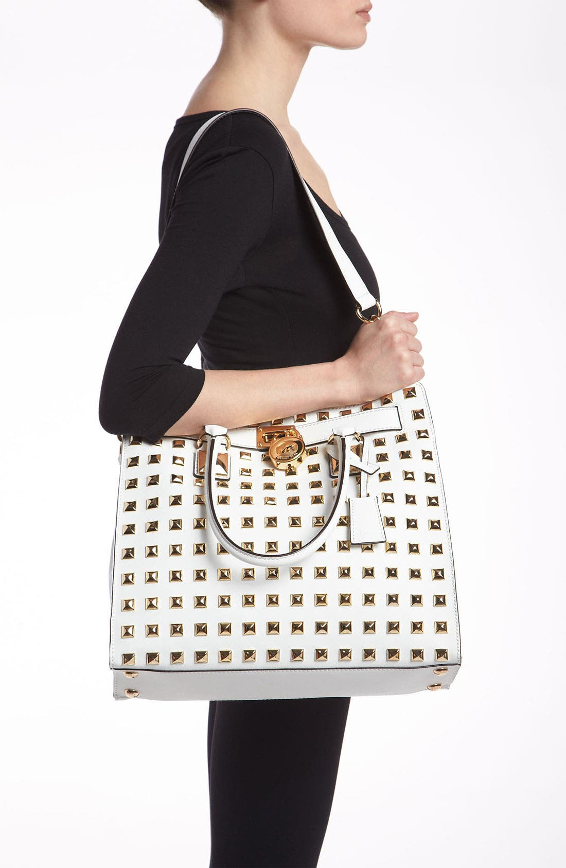 Alternate Image 2  - MICHAEL Michael Kors 'Hamilton - Large' Studded Leather Tote
