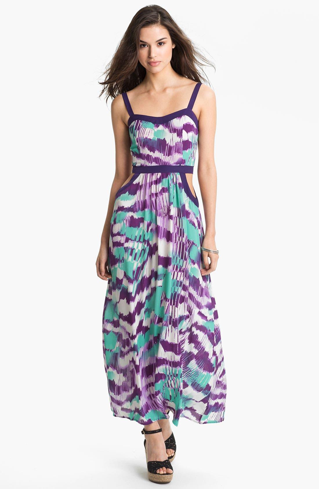 Alternate Image 1  - Soprano Cutout Abstract Print Maxi Dress (Juniors)