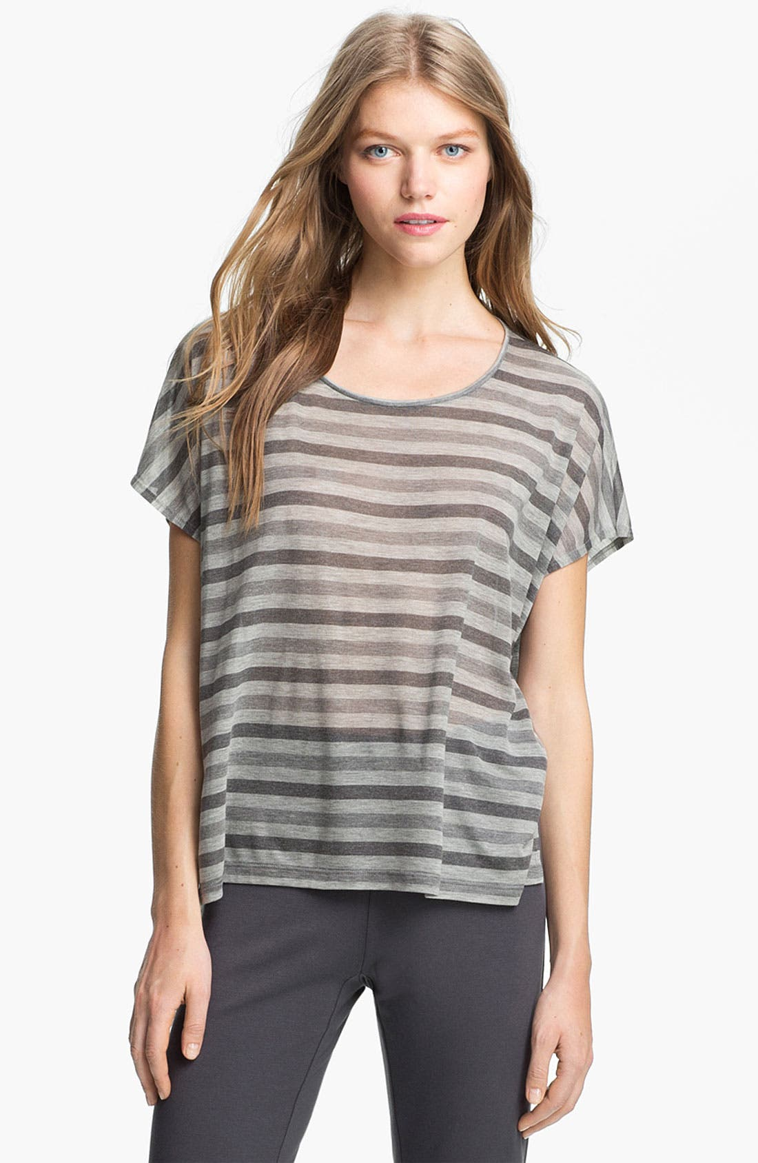 Main Image - Eileen Fisher Scoop Neck Stripe Top