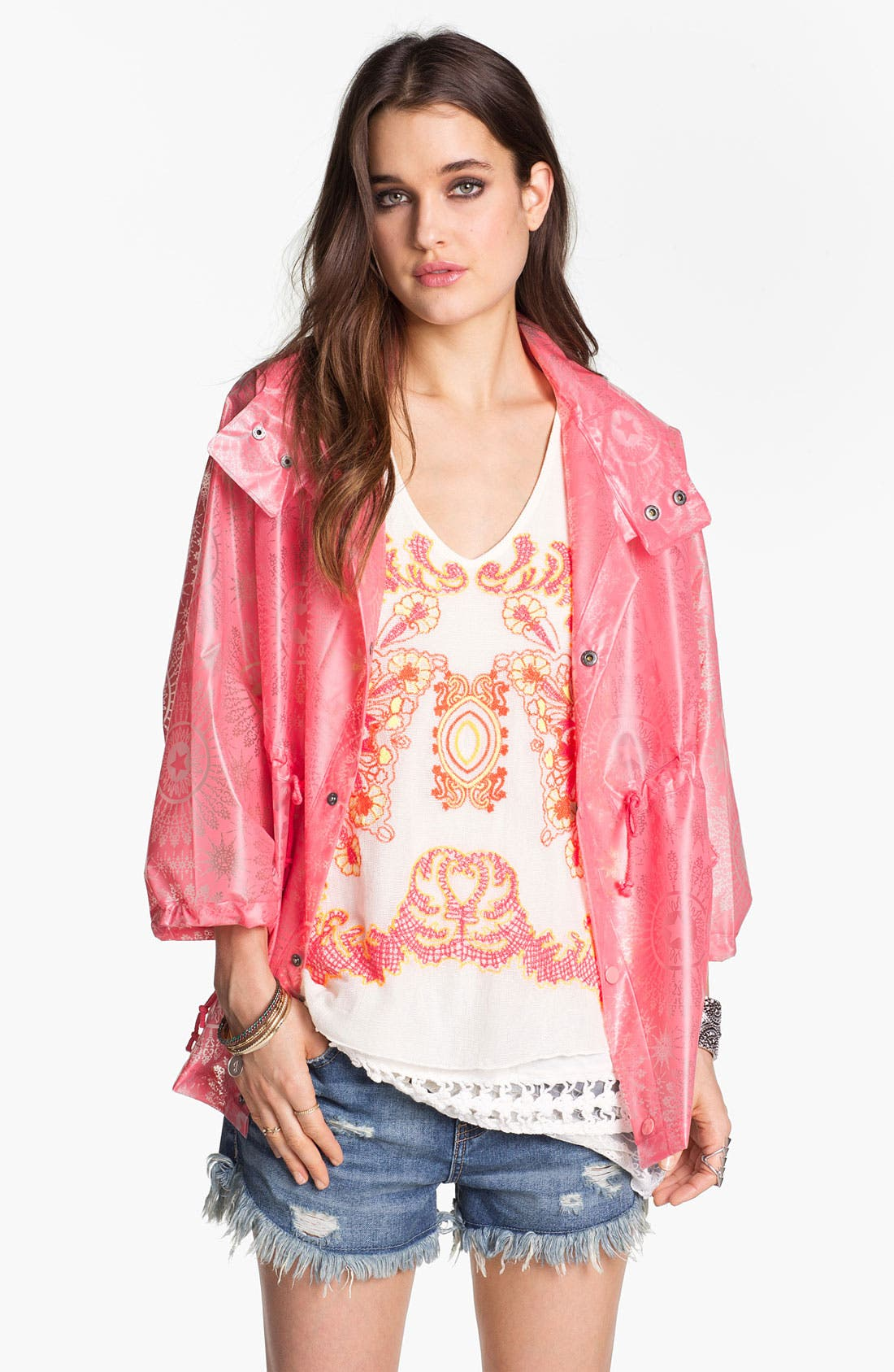 Alternate Image 1 Selected - Free People Star Medallion Raincoat