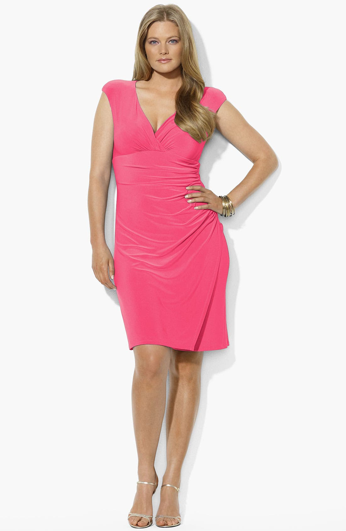 Alternate Image 2  - Lauren Ralph Lauren Ruched Jersey Dress (Plus Size) (Online Only)