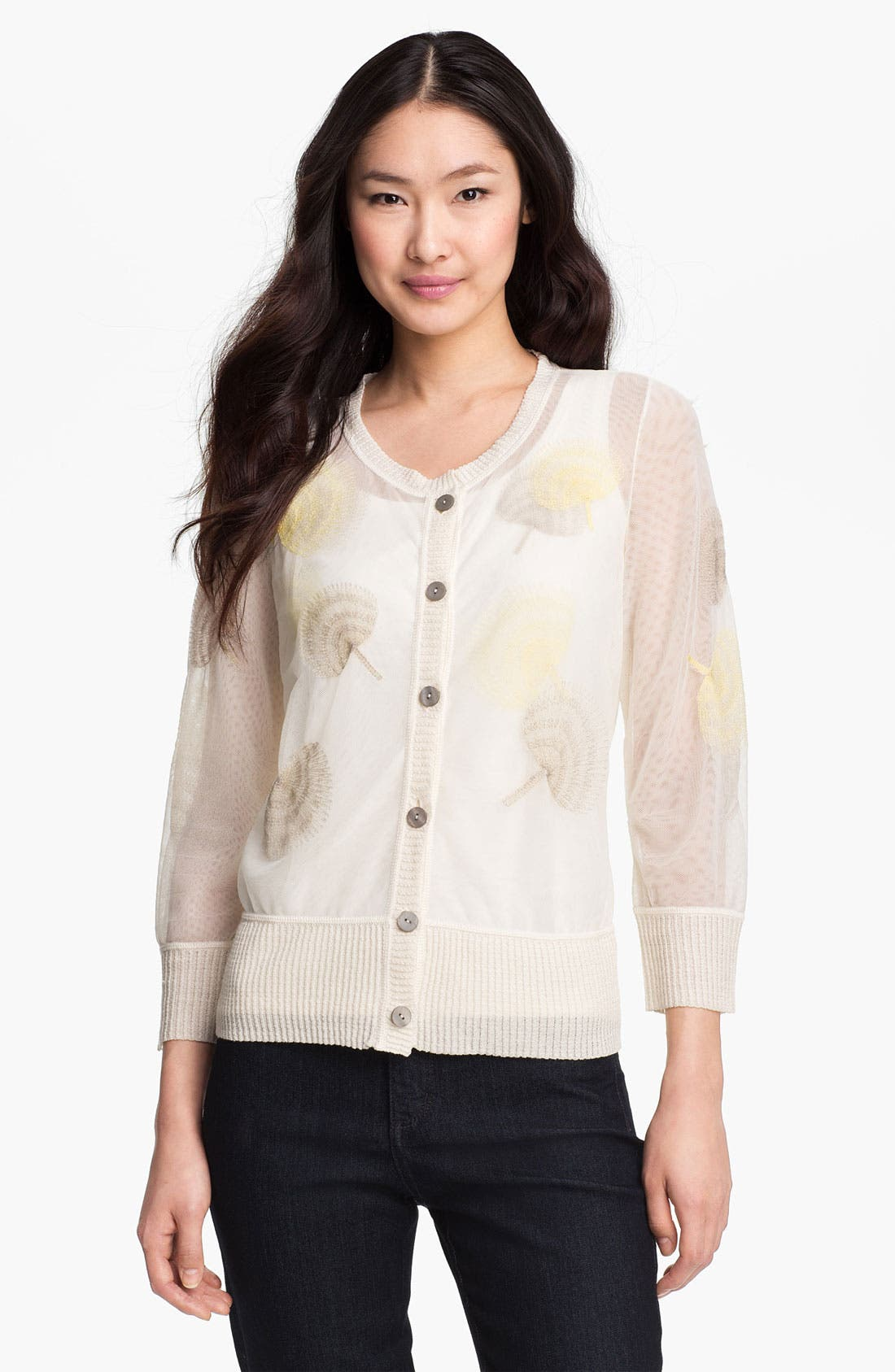 Main Image - Nic + Zoe Fan Print Sheer Mesh Cardigan