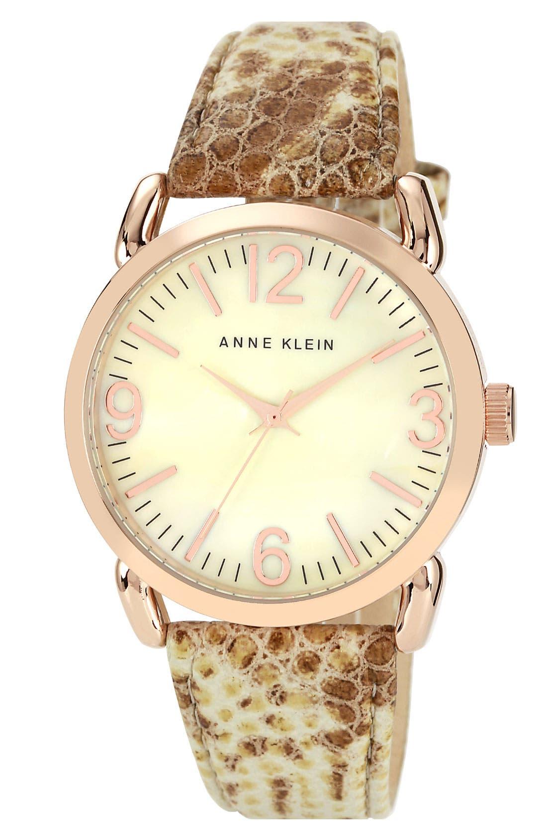Main Image - Anne Klein Round Leather Strap Watch, 40mm