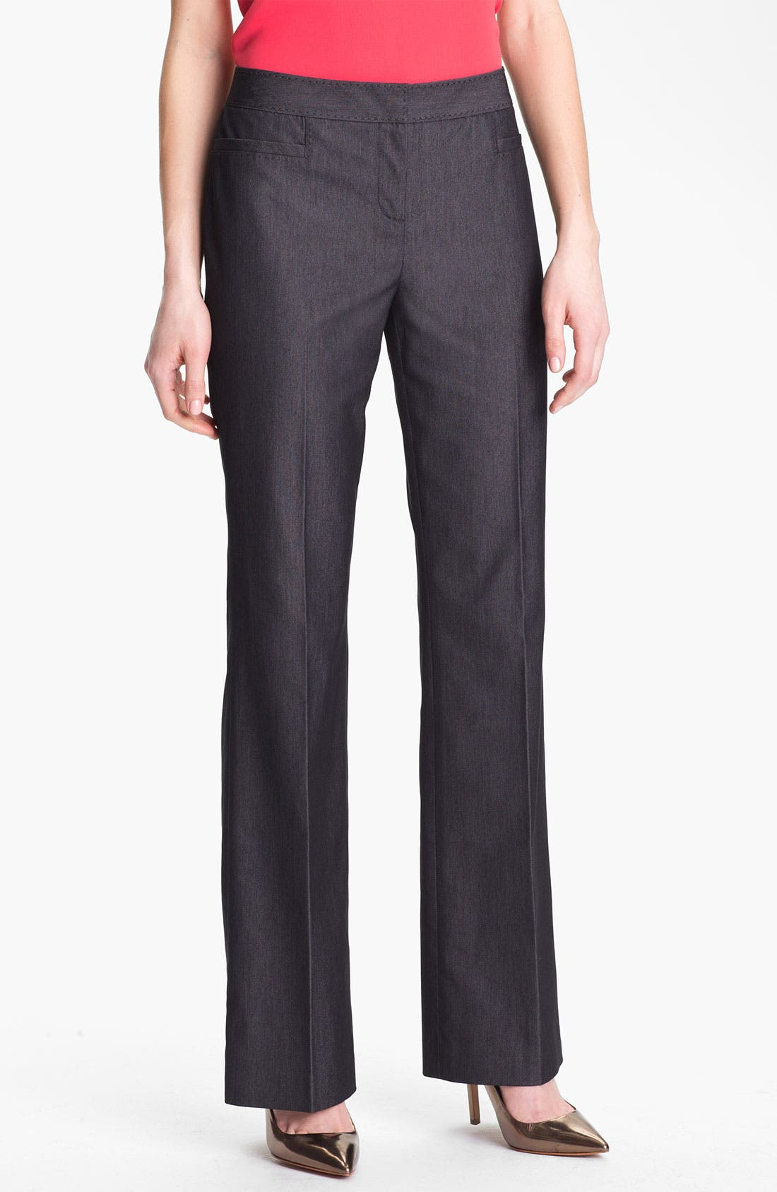 Alternate Image 1 Selected - Halogen® 'Taylor' Curvy Fit Black Denim Pants