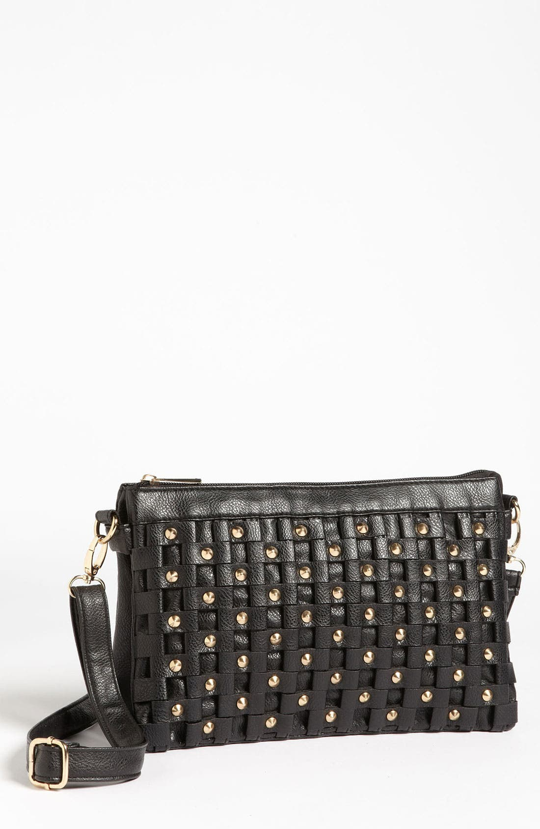 Main Image - Top Choice Studded Faux Leather Crossbody Clutch