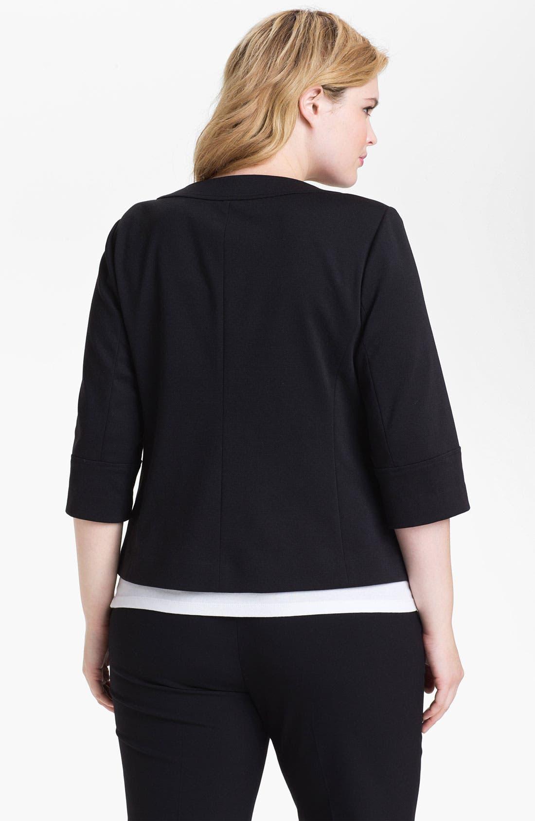Alternate Image 2  - Sejour Zip Front Ponte Knit Jacket (Plus Size)