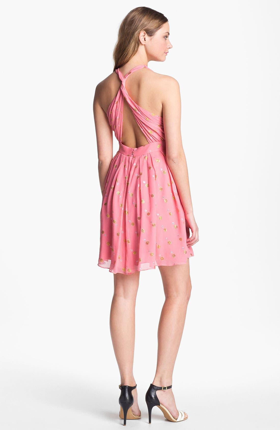 Alternate Image 2  - Nicole Miller 'Mara' Metallic Crinkled Fit & flare Dress