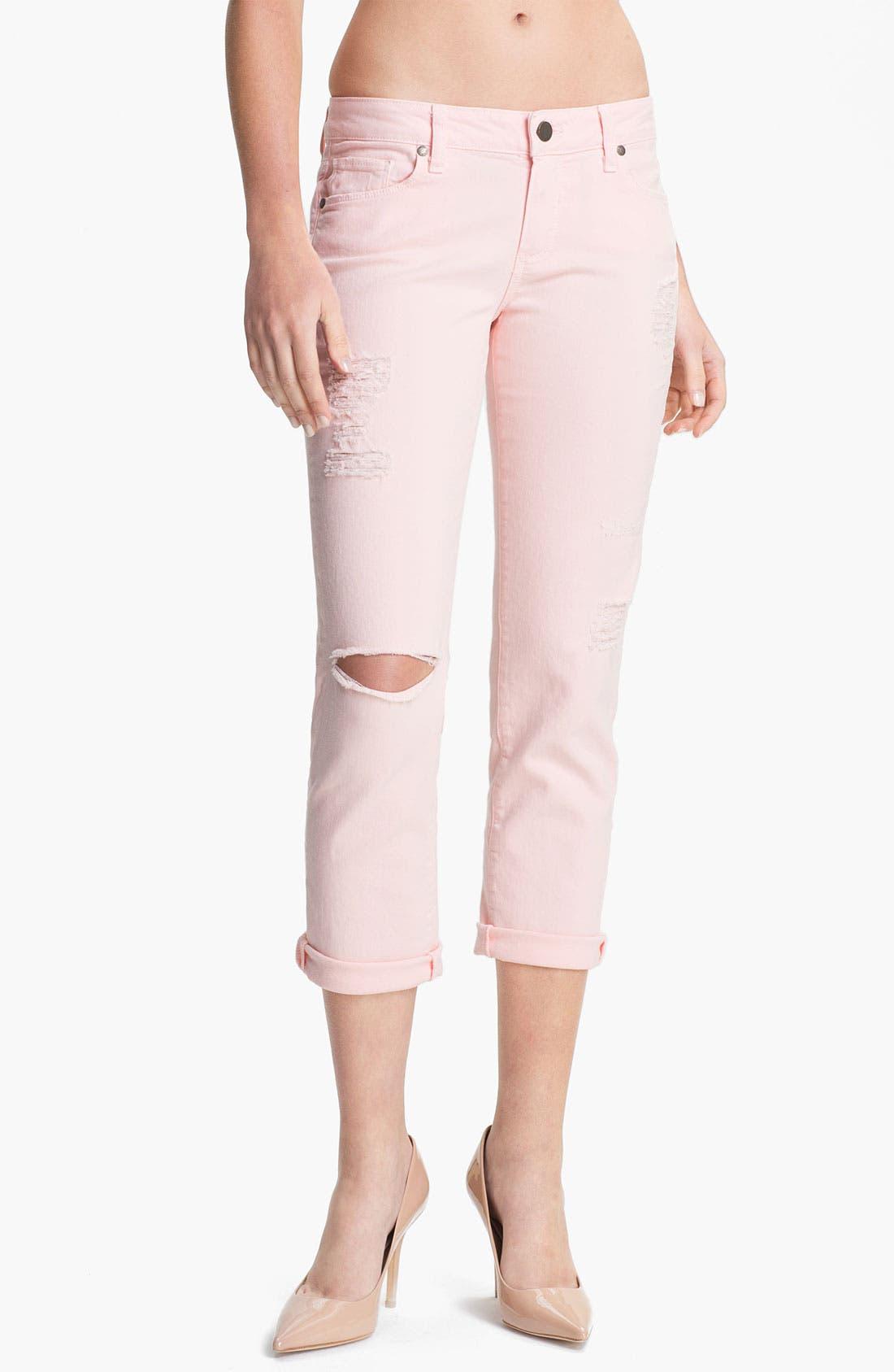 Alternate Image 1 Selected - Paige Denim 'James' Destroyed Crop Jeans (Blossom Deconstruction)