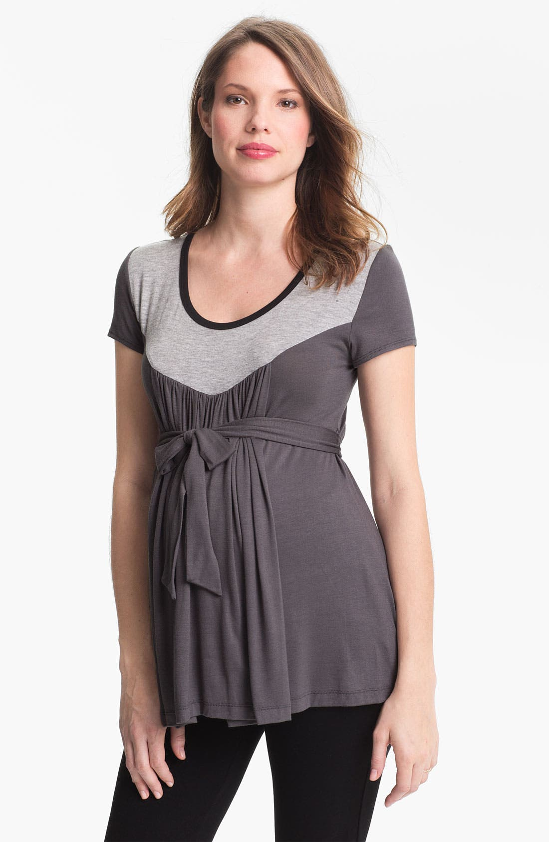 Alternate Image 1 Selected - Japanese Weekend 'Tipped Yoke' Maternity Top