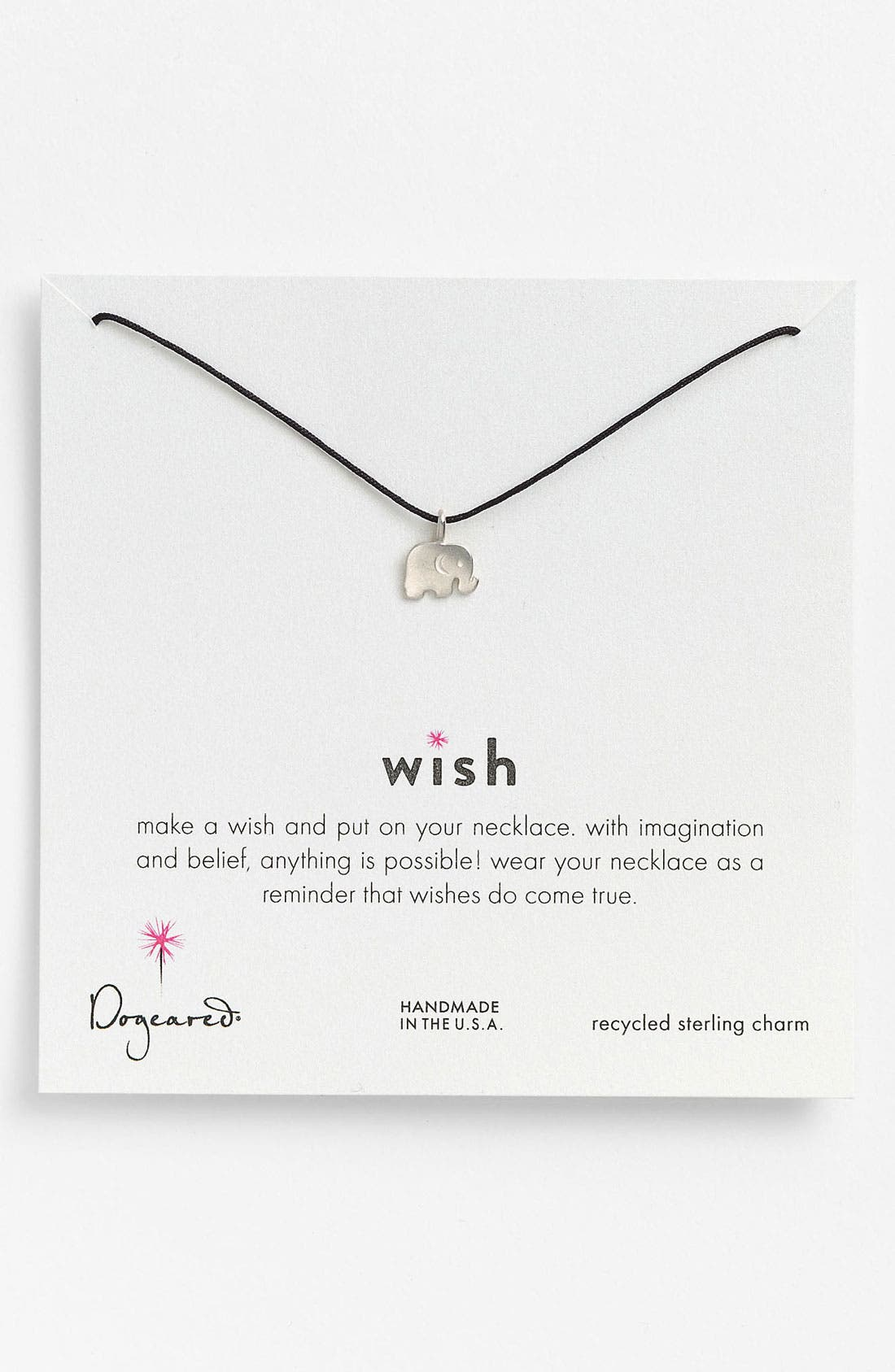 Alternate Image 1 Selected - Dogeared 'Wish' Elephant Charm Necklace