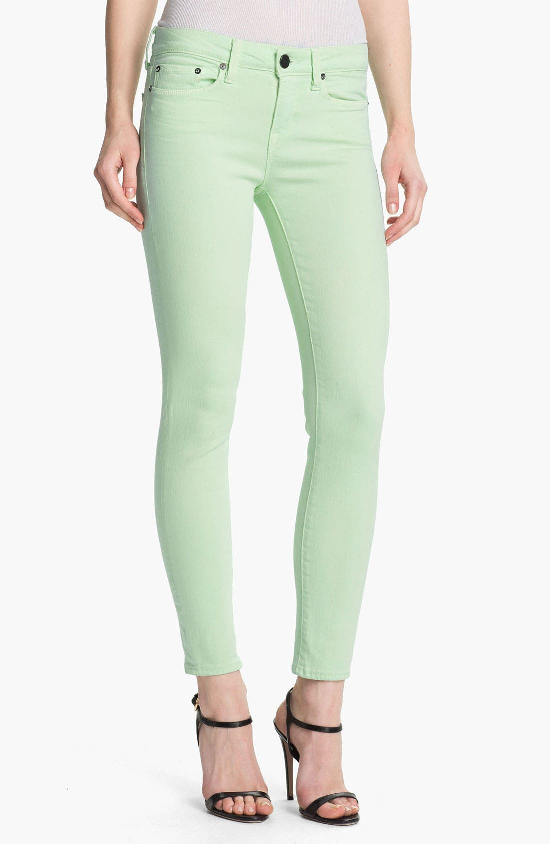Alternate Image 1 Selected - Vince Colored Skinny Stretch Ankle Jeans (Light Mint)
