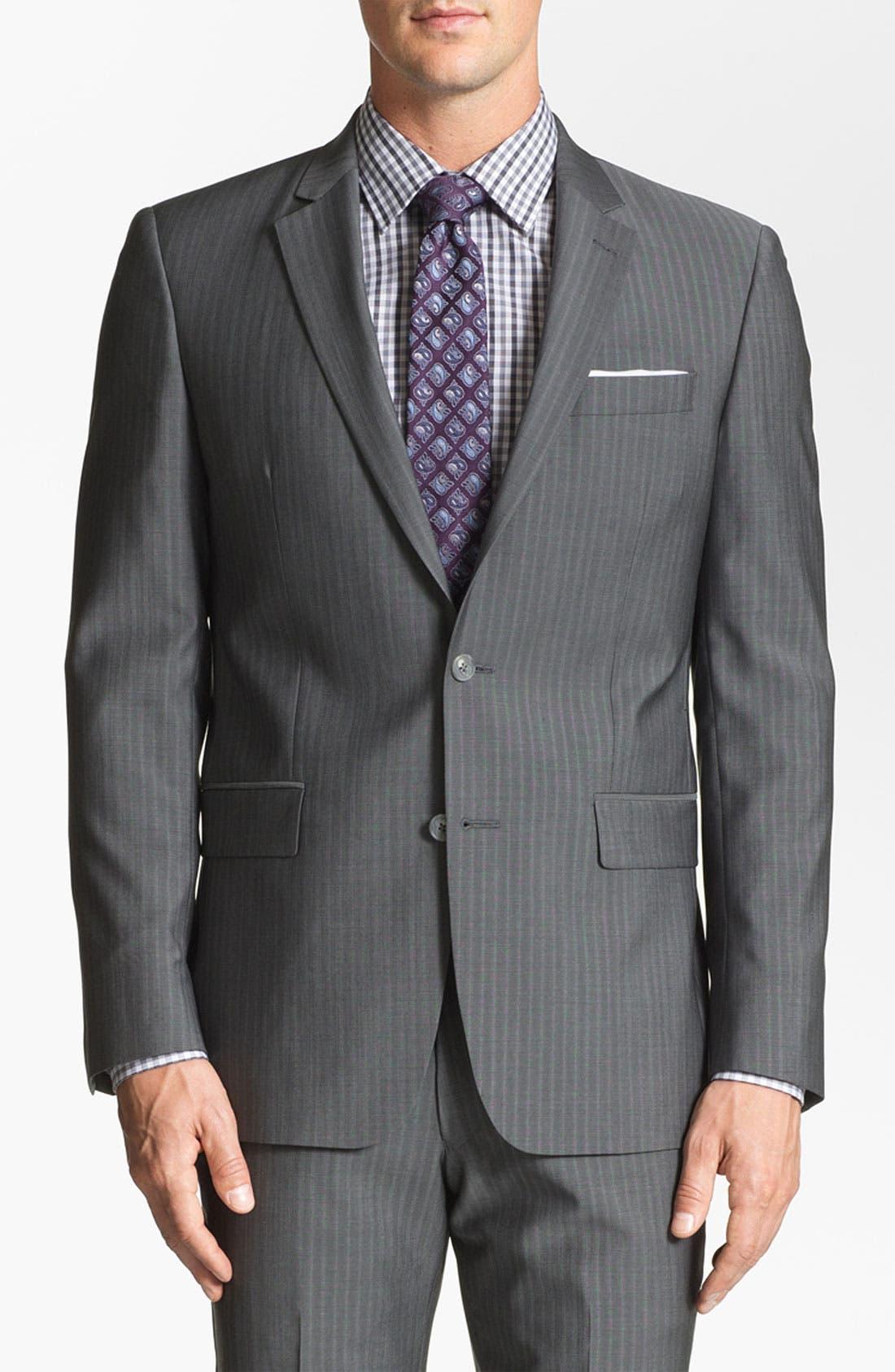 Main Image - John Varvatos Star USA 'Filmore' Trim Fit Stripe Suit