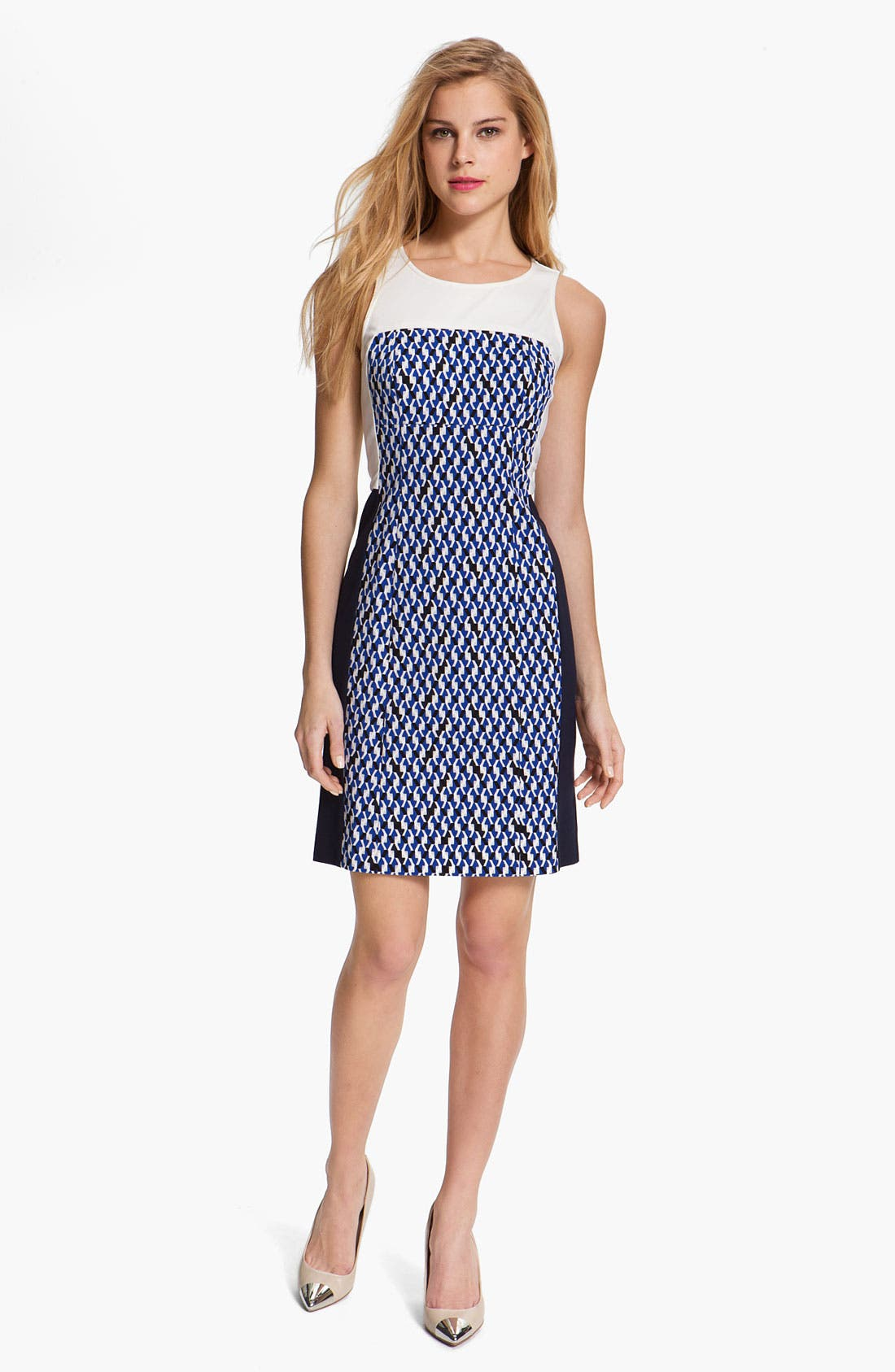 Alternate Image 1 Selected - DKNYC Colorblock Print Dress