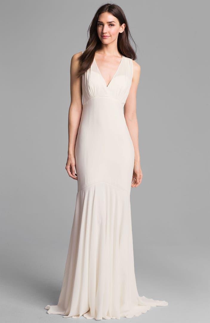 Nicole miller 39 amanda 39 silk chiffon trumpet gown nordstrom for Nicole miller wedding dresses nordstrom