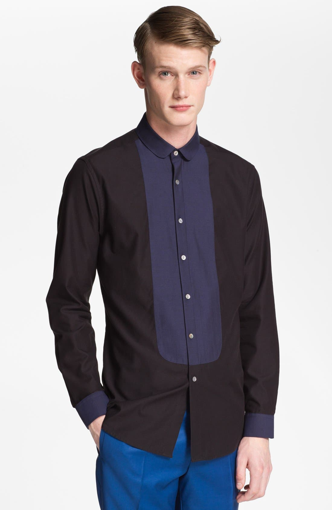 Main Image - Topman 'Lux Collection' Bib Front Dress Shirt