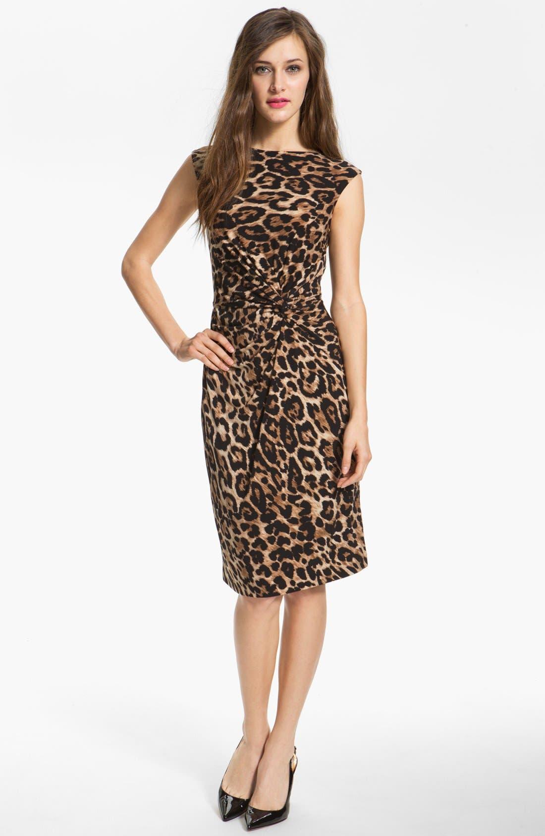 Main Image - Chaus Knot Waist Leopard Print Dress