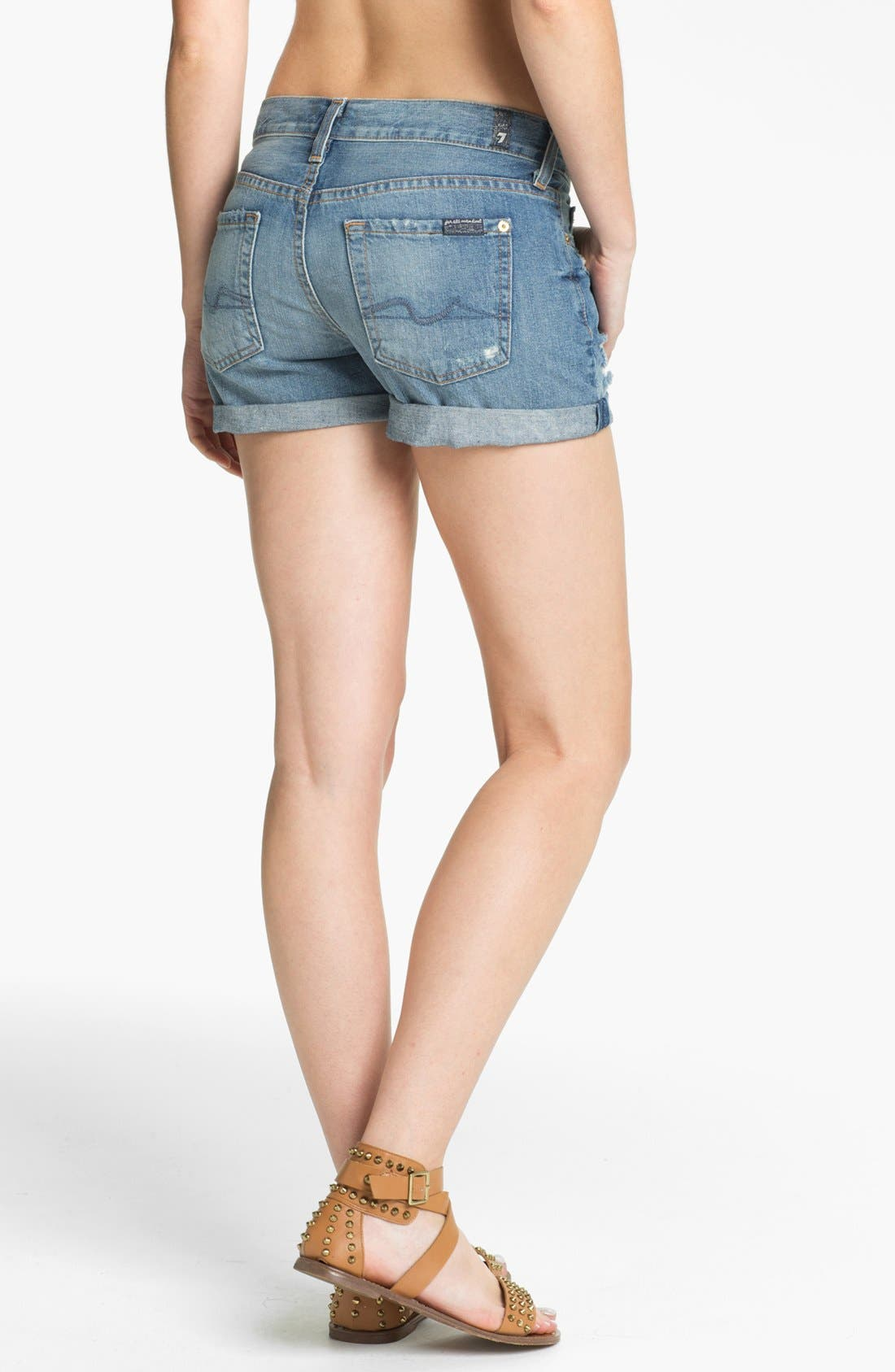 Alternate Image 2  - 7 For All Mankind® 'Josephina' Cuffed Denim Shorts (Light Destroyed)