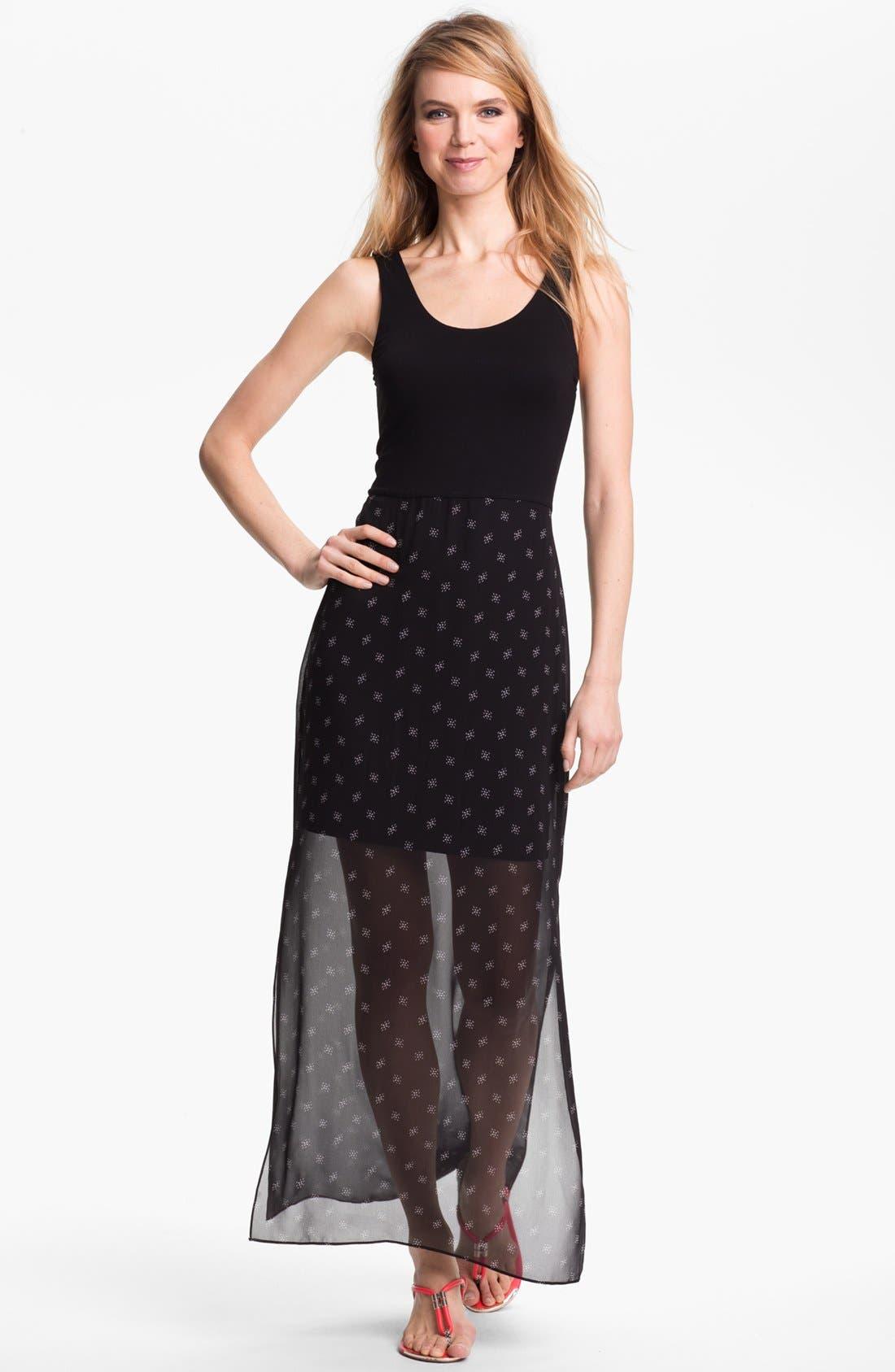 Alternate Image 1 Selected - Vince Camuto Mixed Media Maxi Dress