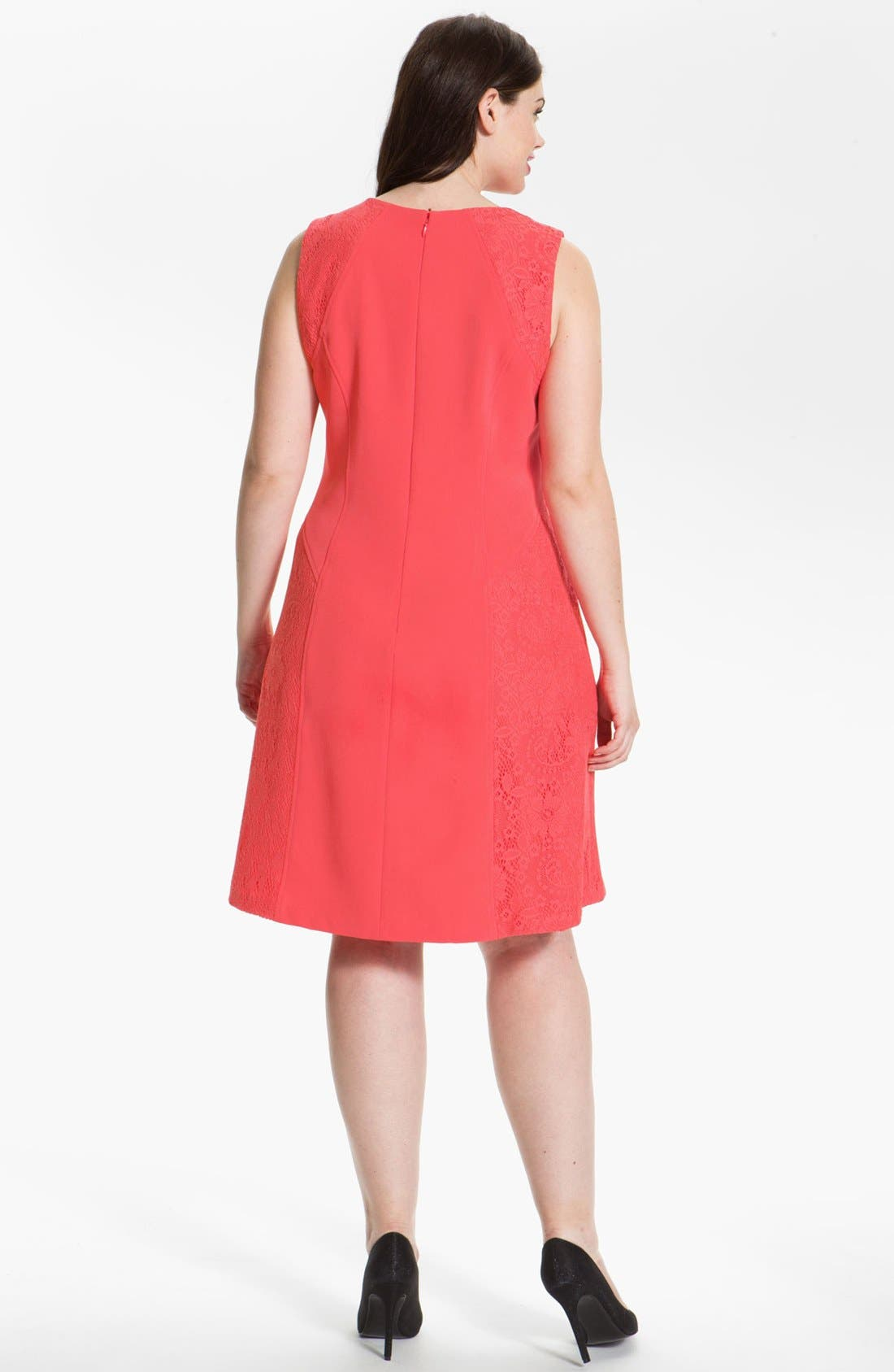 Alternate Image 2  - Adrianna Papell Colorblock Lace & Crepe Dress (Plus Size)