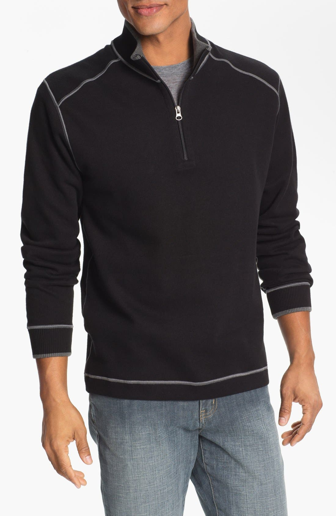 Main Image - Cutter & Buck Regular Fit Quarter Zip Sweater (Regular & Big)