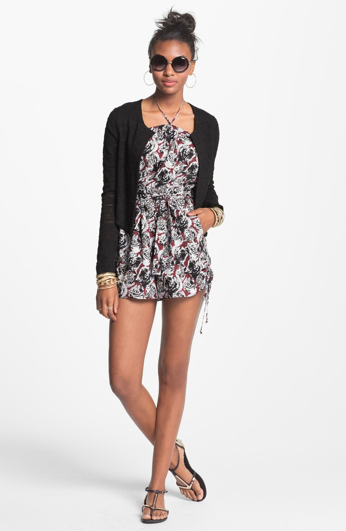 Alternate Image 1 Selected - Fire Ruffle Front Romper & h.i.p. Sheer Lace Blazer