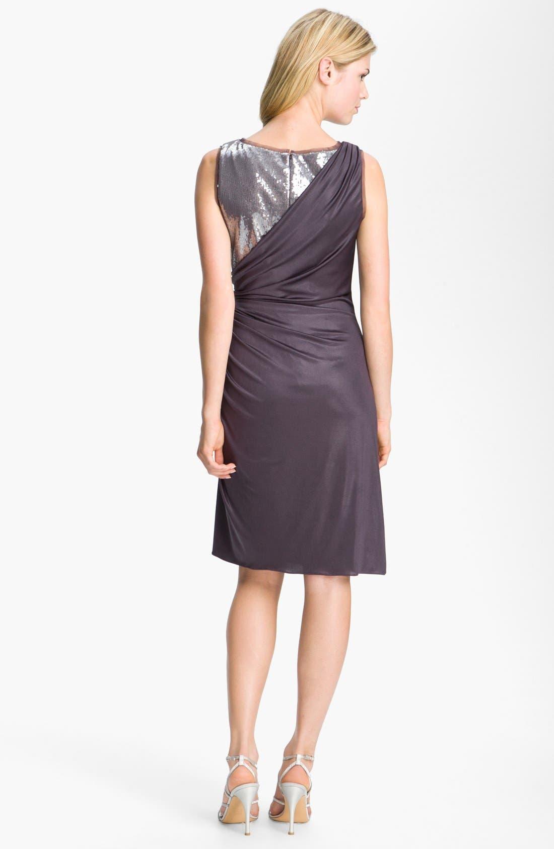 Alternate Image 2  - Adrianna Papell Sequin Jersey Drape Dress (Petite)