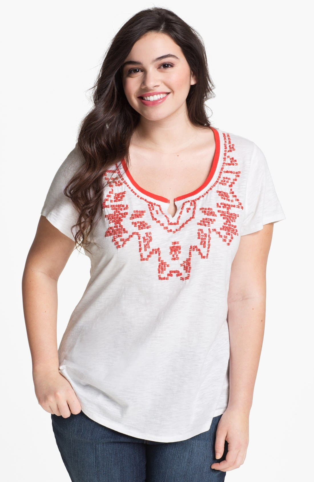 Alternate Image 1 Selected - Lucky Brand 'Tanya' Beaded Cotton Tee (Plus)