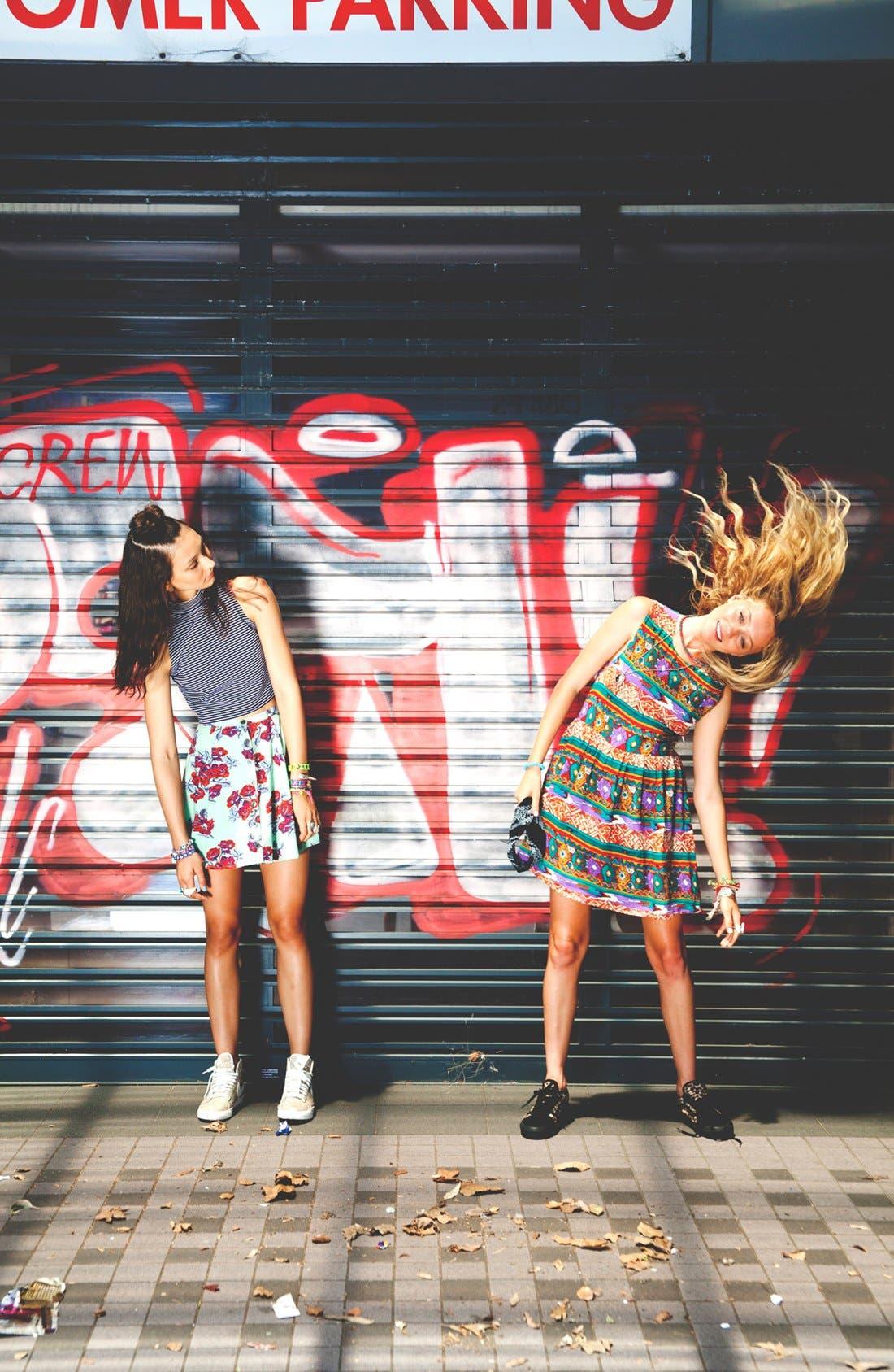 Alternate Image 1 Selected - MINKPINK 'Woodstock' Dress, Crop Top & High Waist Skater Skirt