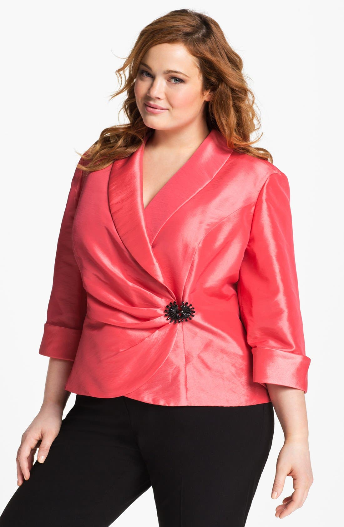 Main Image - Alex Evenings Wrap Taffeta Blouse (Plus Size)