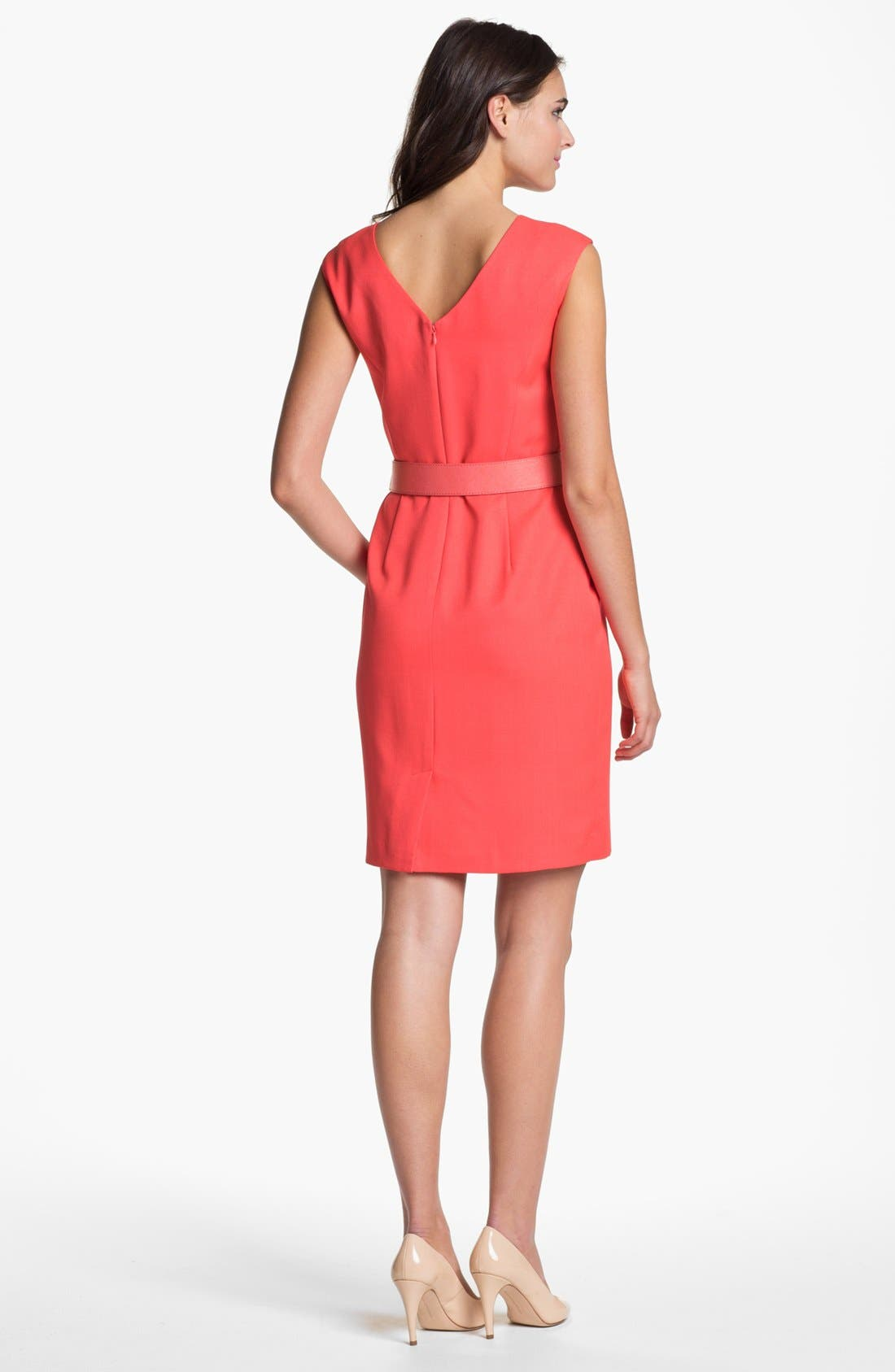 Alternate Image 2  - Ellen Tracy Cap Sleeve Twill Sheath Dress