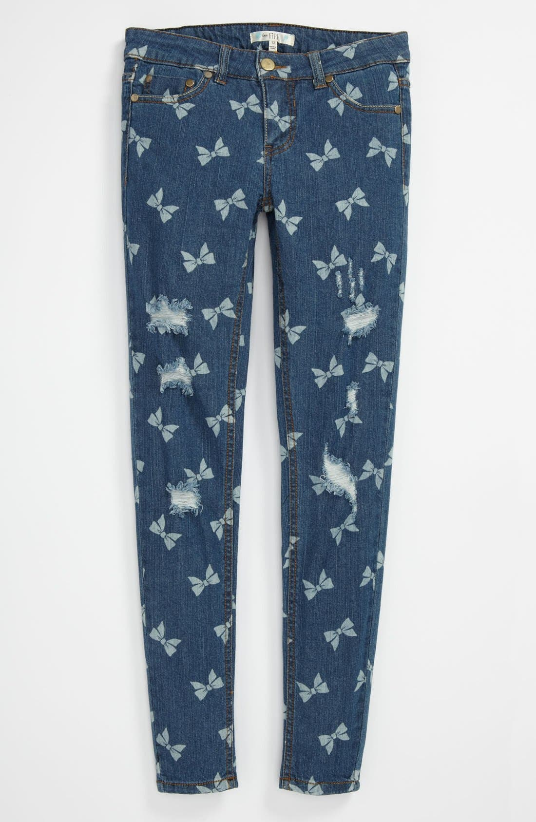 Alternate Image 2  - Fire Bow Print Skinny Jeans (Big Girls)