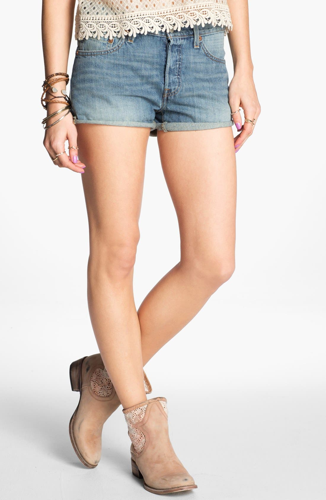 Alternate Image 1 Selected - Levi's® '501' High Waist Cuff Denim Shorts (Bright Idea)