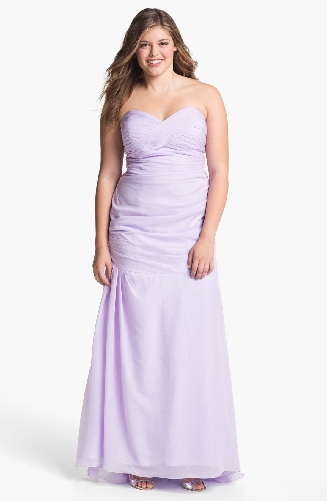 Alternate Image 1 Selected - Dalia MacPhee Strapless Taffeta Trumpet Gown (Juniors Plus)