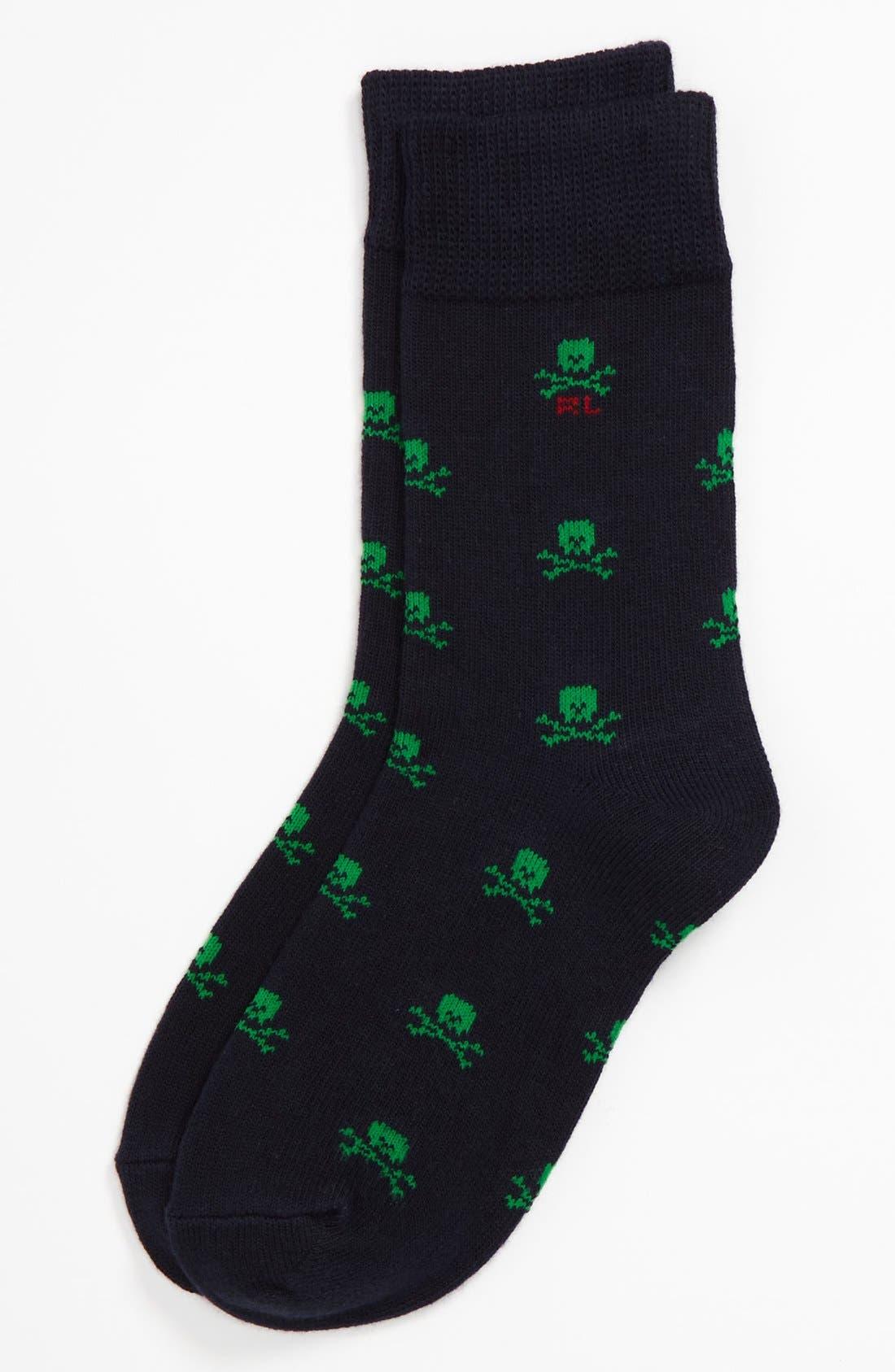 Alternate Image 1 Selected - Polo Ralph Lauren Skull Crew Socks (Toddler Boys)