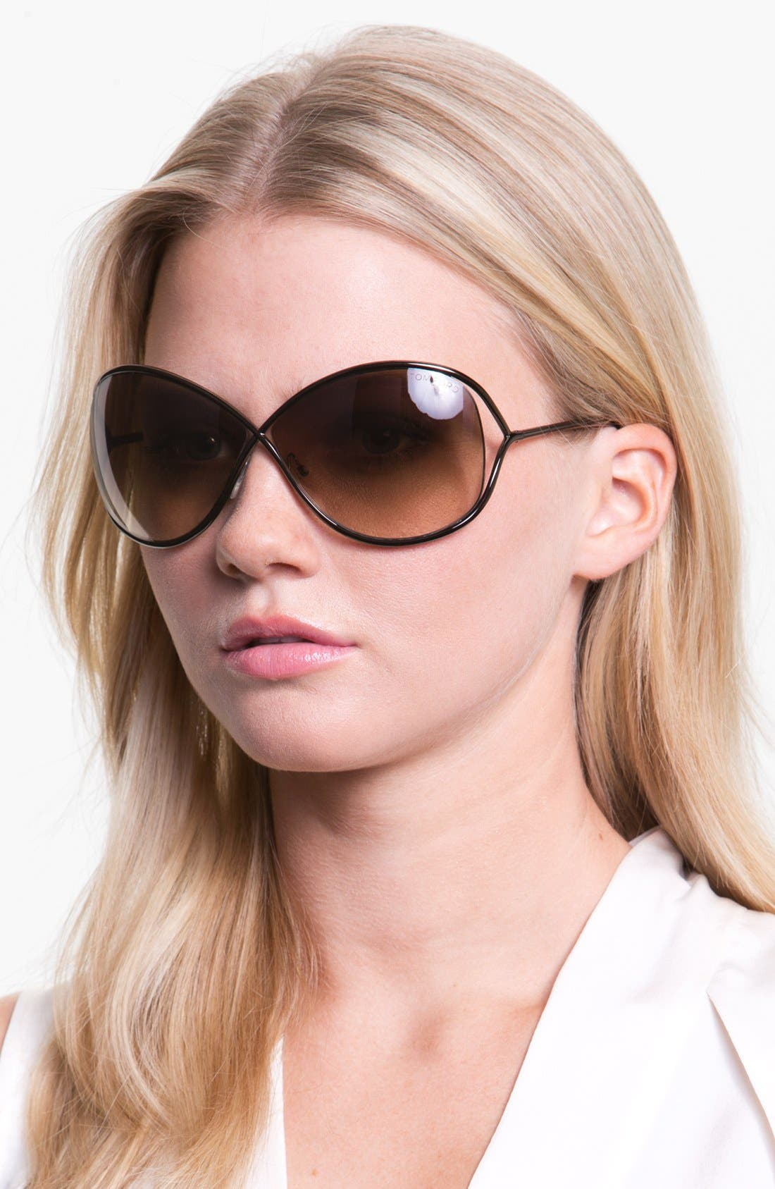 Alternate Image 3  - Tom Ford Miranda 68mm Open Temple Oversize Metal Sunglasses