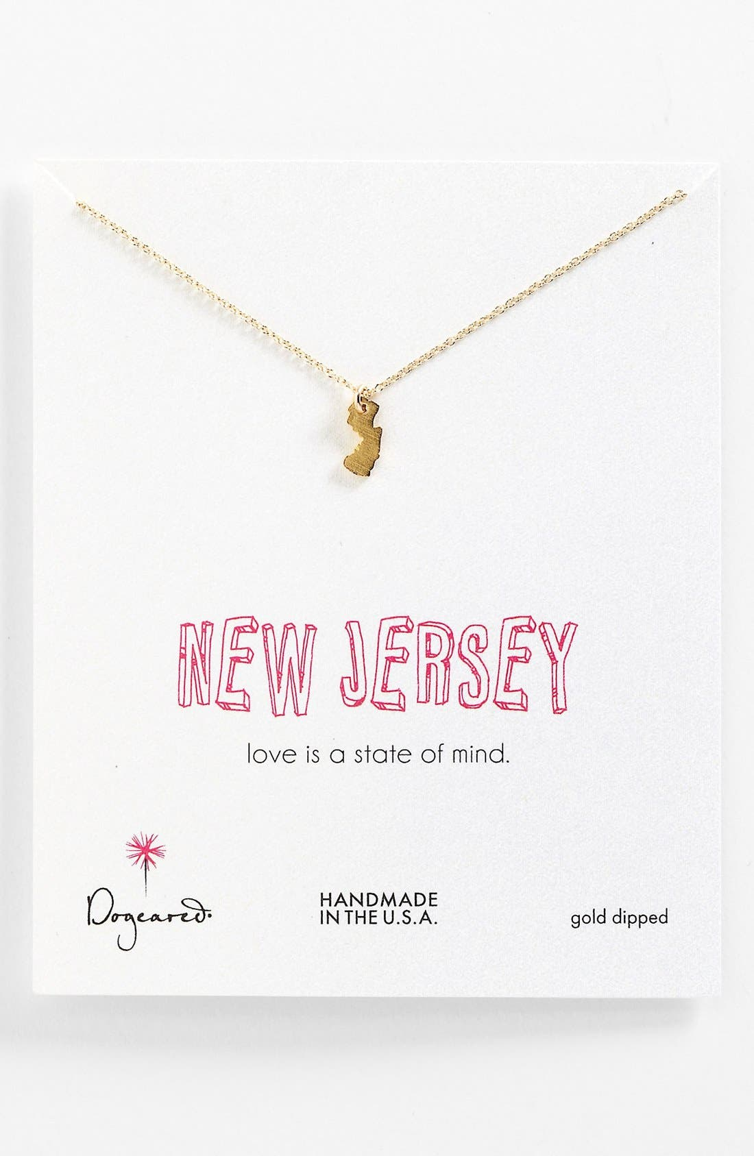 Main Image - Dogeared 'State of Mind - New Jersey' Pendant Necklace