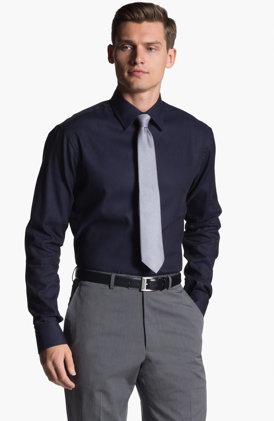 Main Image - Armani Collezioni Trim Fit Cotton Dress Shirt