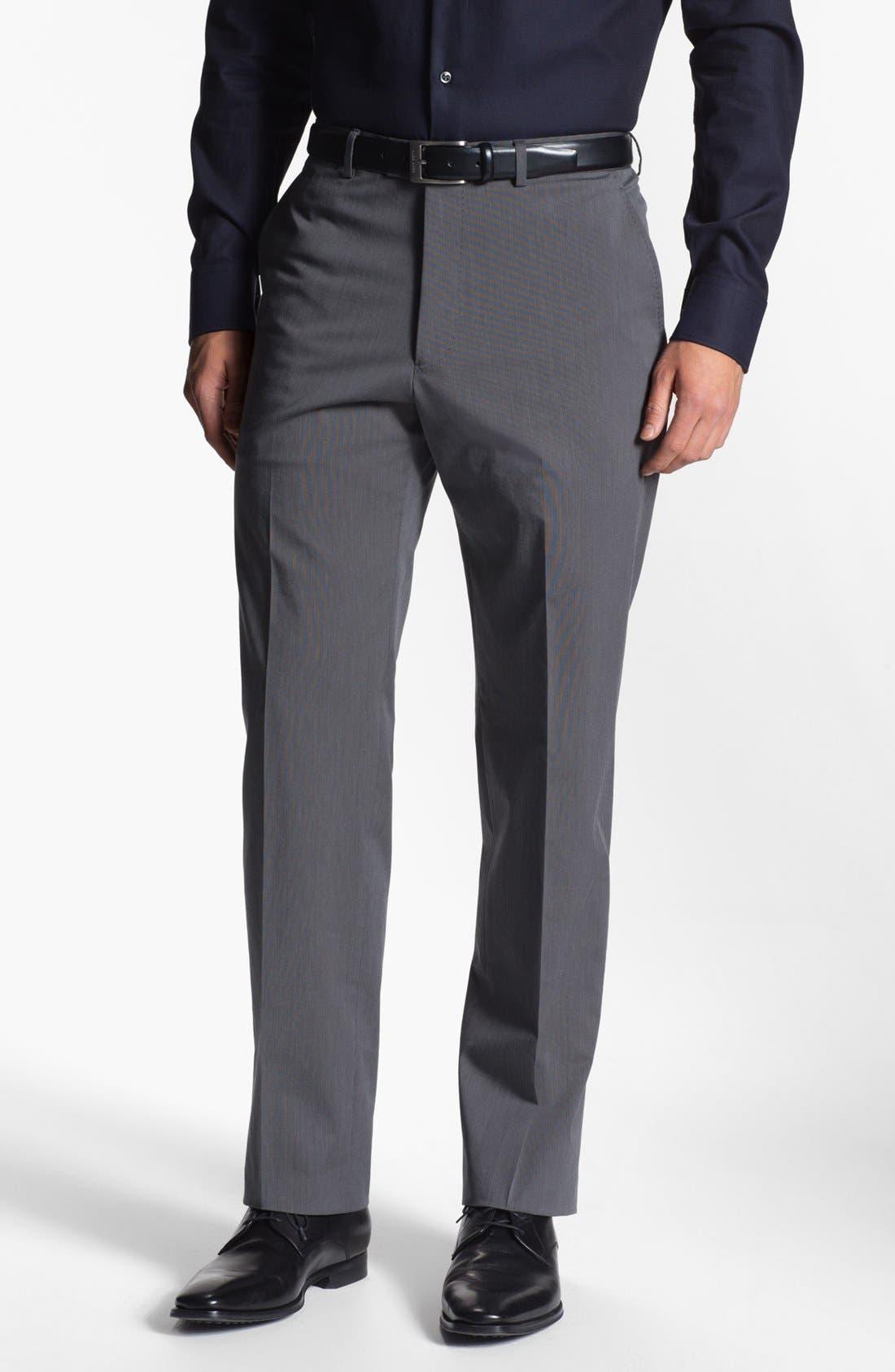 Main Image - Armani Collezioni Stretch Flat Front Trousers
