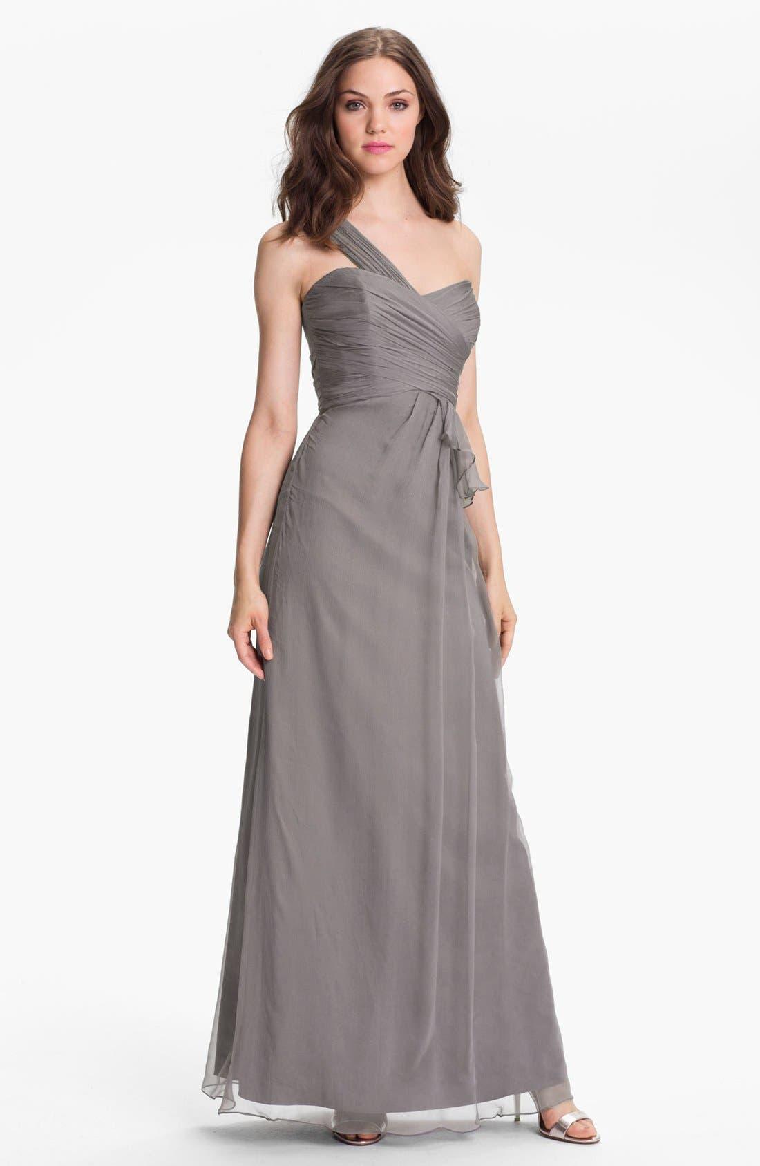 Alternate Image 1  - Amsale One-Shoulder Silk Gown