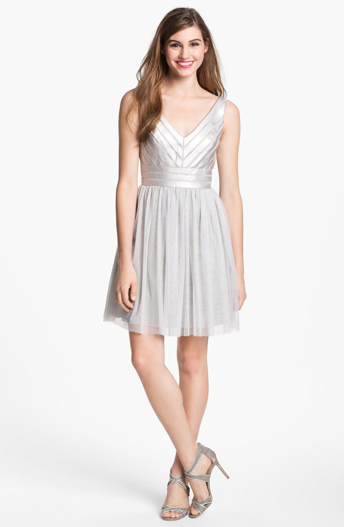 Main Image - Aidan Mattox Embellished Tulle Fit & Flare Dress (Online Only)