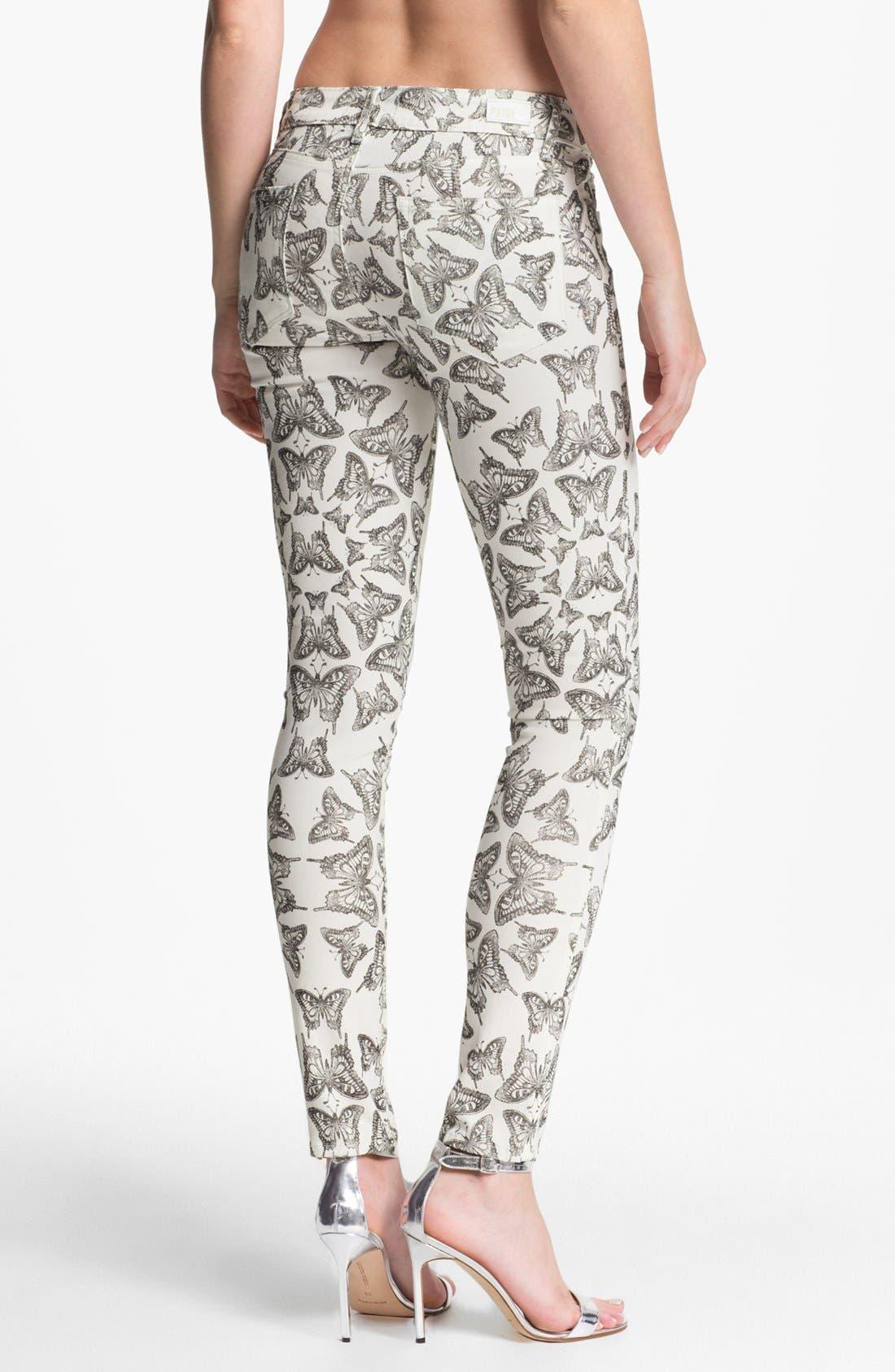 Alternate Image 2  - Paige Denim 'Verdugo' Ultra Skinny Jeans (Butterfly Print)