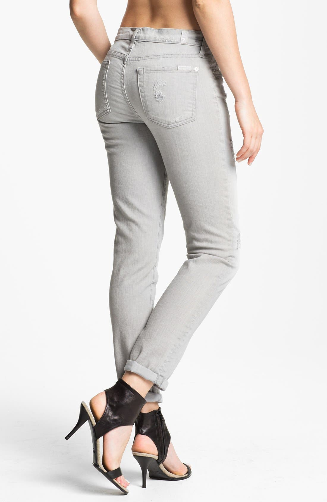 Alternate Image 2  - 7 For All Mankind® 'The Slim Cigarette' Stretch Denim Jeans (Light Grey Destroyed)