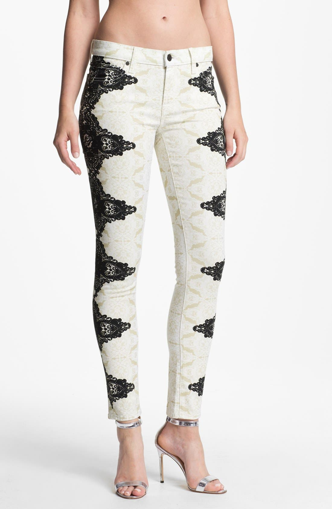 Alternate Image 1 Selected - 7 For All Mankind® 'The Skinny' Placement Print Jeans (Lace on Lace)