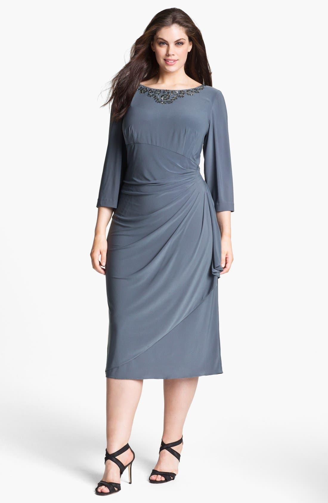 Alternate Image 1 Selected - Alex Evenings Embellished Faux Wrap Dress (Plus Size)