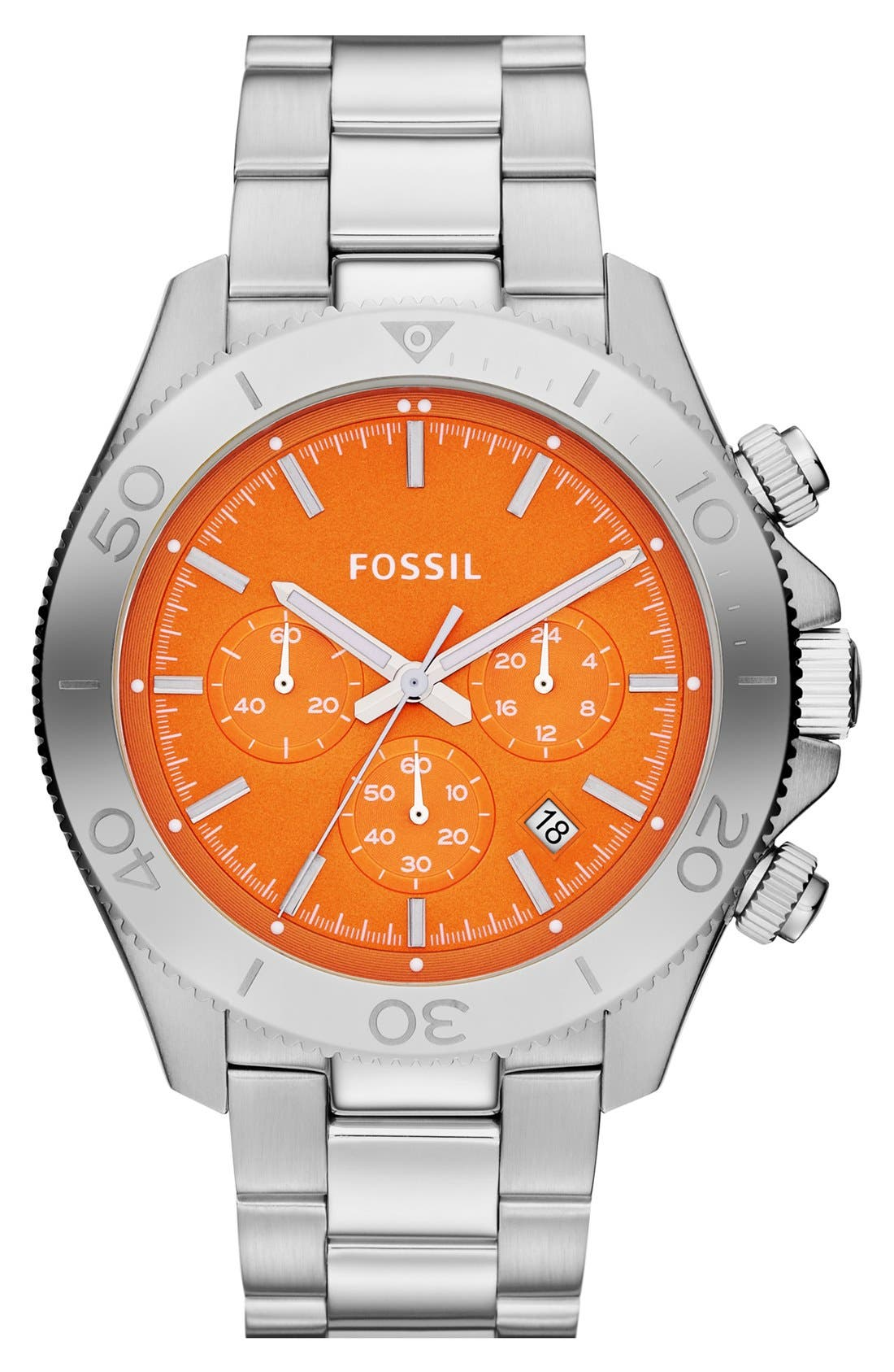 Alternate Image 1 Selected - Fossil 'Retro Traveler' Chronograph Bracelet Watch, 45mm