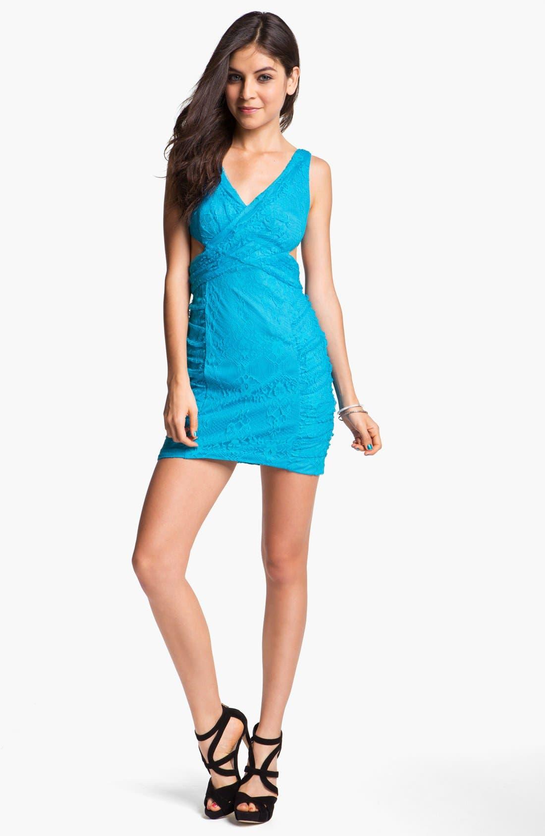 Main Image - Hailey Logan Cutout Lace Body-Con Dress (Juniors)