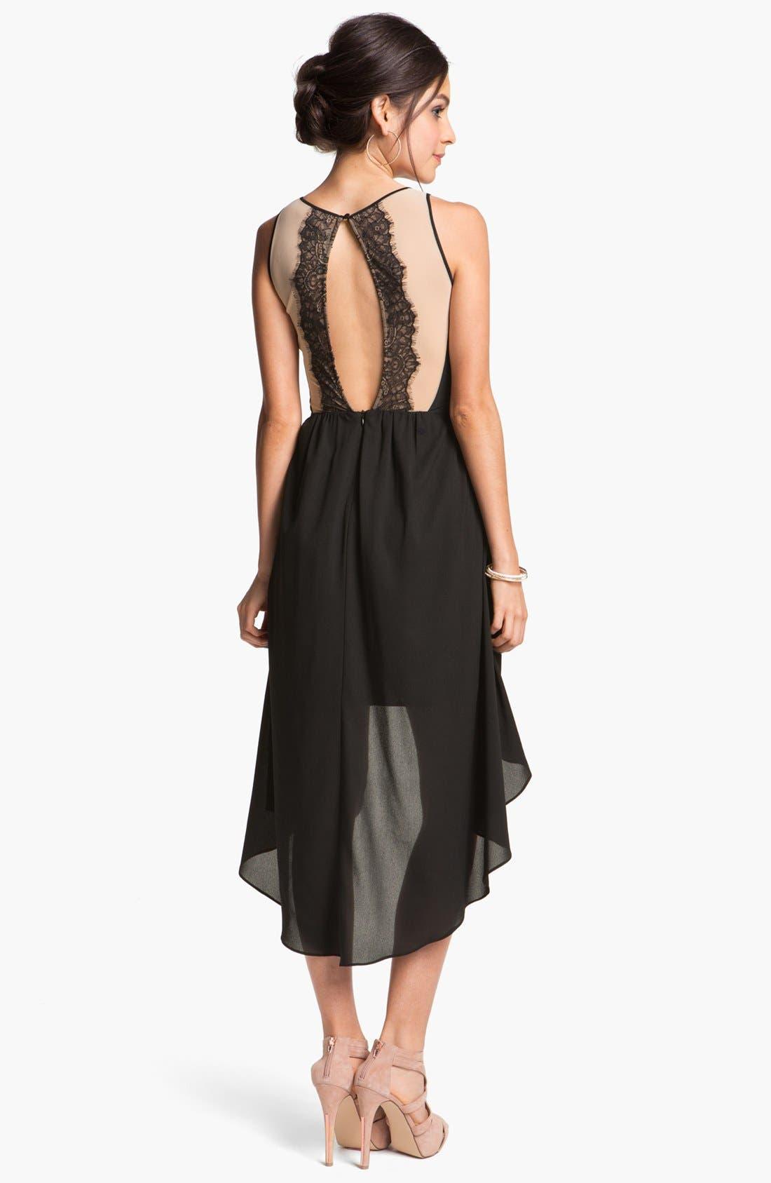 Alternate Image 2  - En Crème Lace Illusion High/Low Dress (Juniors)