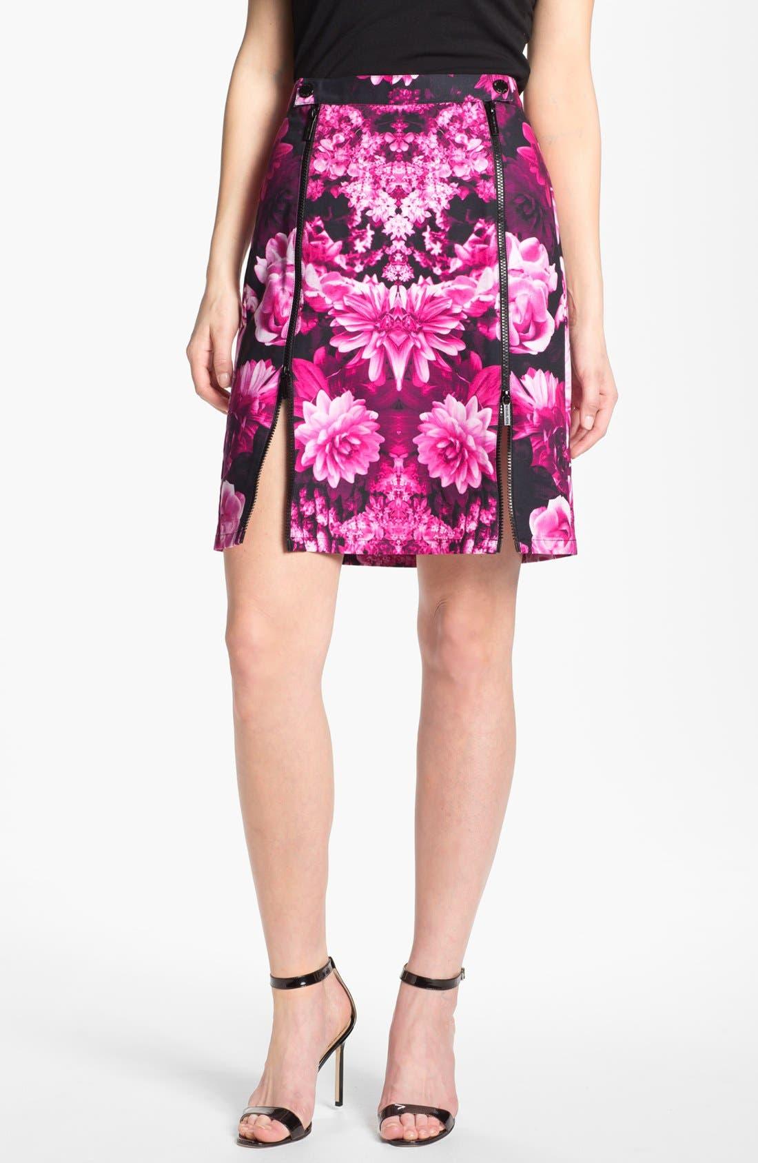 Alternate Image 1 Selected - MICHAEL Michael Kors Snap Waist Garden Print Skirt
