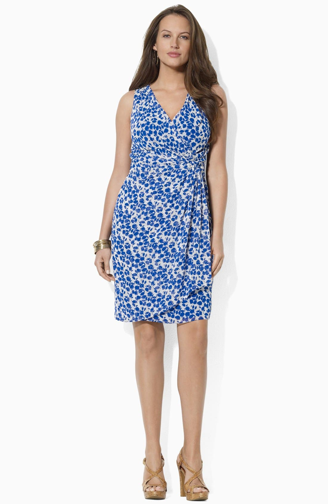 Main Image - Lauren Ralph Lauren Print Faux Wrap Chiffon Dress (Plus Size)