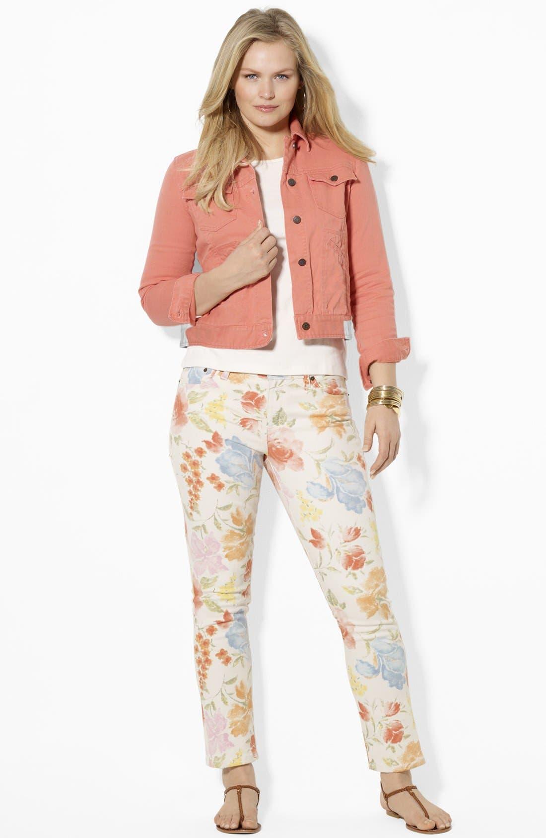 Alternate Image 2  - Lauren Ralph Lauren Crop Denim Jacket (Plus)